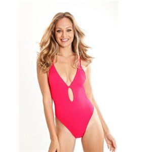 Raspberry red one piece deep v plunge tie front S
